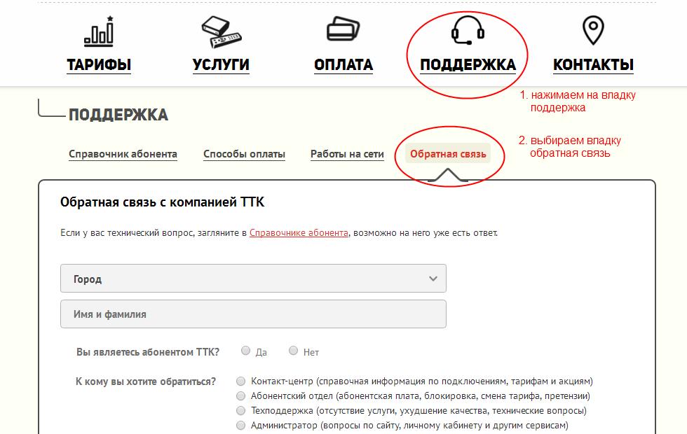 Связь с ТТК. Горячая линия, тех.поддержка клиентов